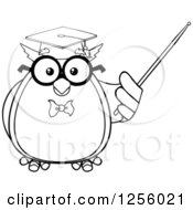 Clipart Of A Black And White Wise Professor Owl Using A Pointer Stick Royalty Free Vector Illustration by Hit Toon
