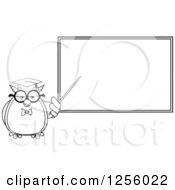 Clipart Of A Black And White Wise Professor Owl Pointing To A Chalkboard Royalty Free Vector Illustration