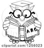 Clipart Of A Black And White Wise Professor Owl Reading An Alphabet Book Royalty Free Vector Illustration by Hit Toon