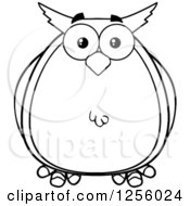 Clipart Of A Black And White Owl Royalty Free Vector Illustration by Hit Toon