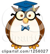 Clipart Of A Wise Professor Owl Royalty Free Vector Illustration by Hit Toon