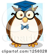 Clipart Of A Wise Professor Owl Over Blue Royalty Free Vector Illustration by Hit Toon