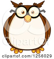 Clipart Of A Wise Professor Owl In Glasses Royalty Free Vector Illustration