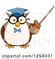 Clipart Of A Wise Professor Owl Using A Pointer Stick Royalty Free Vector Illustration by Hit Toon