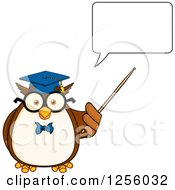 Clipart Of A Talking Wise Professor Owl Using A Pointer Stick Royalty Free Vector Illustration