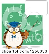 Clipart Of A Talking Wise Professor Owl Using A Pointer Stick Over An Alphabet Chalkboard Royalty Free Vector Illustration