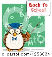 Clipart Of A Back To School Wise Professor Owl Using A Pointer Stick Over An Alphabet Chalkboard Royalty Free Vector Illustration
