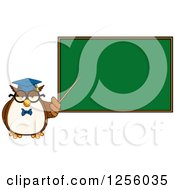 Clipart Of A Wise Professor Owl Pointing To A Chalkboard Royalty Free Vector Illustration by Hit Toon