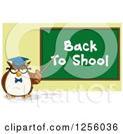 Clipart Of A Wise Professor Owl Pointing To A Back To School Chalkboard Royalty Free Vector Illustration