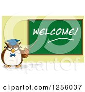 Clipart Of A Wise Professor Owl Pointing To A Welcome Chalkboard Royalty Free Vector Illustration by Hit Toon