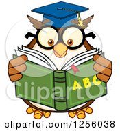 Clipart Of A Wise Professor Owl Reading An Alphabet Book Royalty Free Vector Illustration by Hit Toon