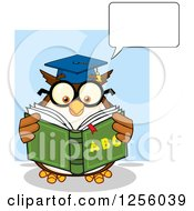 Clipart Of A Talking Wise Professor Owl Reading An Alphabet Book Royalty Free Vector Illustration by Hit Toon