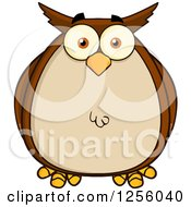 Clipart Of A Brown Owl Royalty Free Vector Illustration by Hit Toon