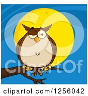 Clipart Of A Brown Owl On A Branch Over A Full Moon Royalty Free Vector Illustration by Hit Toon