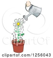 Clipart Of A Watering Can Over A Potted Flower With A Trust Stem Royalty Free Vector Illustration
