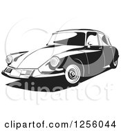 Clipart Of A Black And White Citroen 1956 Car Royalty Free Vector Illustration