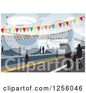 Clipart Of A Bilmp Over Silhouetted People Car Shopping At A Dealership Royalty Free Vector Illustration