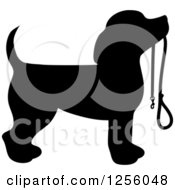 Black Silhouetted Beagle Dog Waiting With A Leash