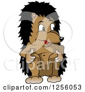 Clipart Of A Happy Hedgehog Sitting Royalty Free Vector Illustration by dero