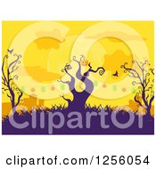 Clipart Of A Strand Of Halloween Jackolantern Pumpkin Lights On Dead Trees In A Cemetery Royalty Free Vector Illustration