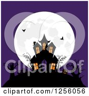 Clipart Of A Haunted Mansion With Bats On A Hill Against A Full Moon And Purple Sky Royalty Free Vector Illustration by elaineitalia