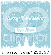 Clipart Of A Blue Winter Background With Merry Christmas And A Happy New Year Text Royalty Free Vector Illustration by elaineitalia