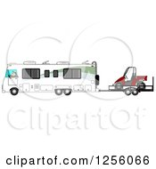 Clipart Of A Caucasian Man Driving A Class A Motorhome And Towing A Utv Royalty Free Illustration