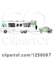 Clipart Of A Caucasian Man Driving A Class A Motorhome And Towing A Car With A Dolly Royalty Free Illustration