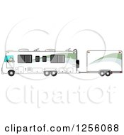 Caucasian Man Driving A Class A Motorhome And Towing A Trailer