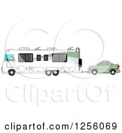 Caucasian Man Driving A Class A Motorhome And Towing A Car