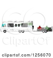 Clipart Of A Caucasian Man Driving A Class A Motorhome And Towing Atvs Royalty Free Illustration by djart
