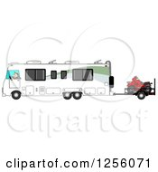 Clipart Of A Caucasian Man Driving A Class A Motorhome And Towing An Atv Royalty Free Illustration