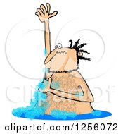 Clipart Of A Hairy Man Lathering Up And Bathing In A Stream Royalty Free Illustration by djart
