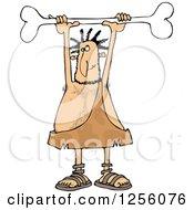 Caveman Holding A Bone Above His Head