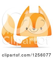 Clipart Of A Cute Fox Smiling Royalty Free Vector Illustration by Qiun
