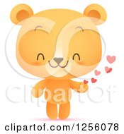 Clipart Of A Cute Bear With Hearts Royalty Free Vector Illustration