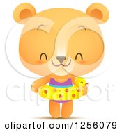 Clipart Of A Cute Summer Bear With An Inner Tube Royalty Free Vector Illustration