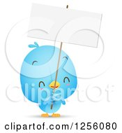 Clipart Of A Cute Bluebird Holding Up A Blank Sign Royalty Free Vector Illustration by Qiun