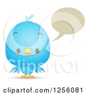 Clipart Of A Cute Bluebird Talking Royalty Free Vector Illustration by Qiun