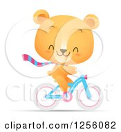 Clipart Of A Cute Bear Riding A Bicycle Royalty Free Vector Illustration