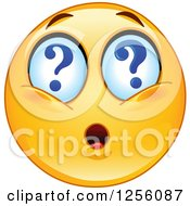 Clipart Of A Yellow Smiley Emoticon With Question Mark Eyes Royalty Free Vector Illustration