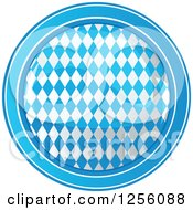 Clipart Of A Round Blue Harlequin Patterned Oktoberfest Icon Royalty Free Vector Illustration
