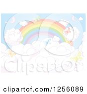 Clipart Of A Faded Rainbow And Colorful Butterflies Over Clouds Royalty Free Vector Illustration