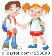 Clipart Of A Caucasian School Boy And Girl Holding Hands Royalty Free Vector Illustration by Pushkin
