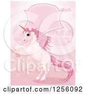 Clipart Of A Fantasy Magic Unicorn Rearing Under A Frame On Pink Rays Royalty Free Vector Illustration