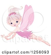 Clipart Of A Happy Pink Fairy Flying Royalty Free Vector Illustration
