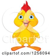 Clipart Of A Cute Happy Yellow Chick Royalty Free Vector Illustration by Pushkin