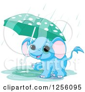 Clipart Of A Cute Blue Baby Elephant Walking With An Umbrella Through A Rain Puddle Royalty Free Vector Illustration