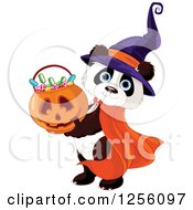 Clipart Of A Cute Panda Dressed In A Witch Hat Holding Up A Halloween Pumpkin Basket Of Candy Royalty Free Vector Illustration