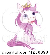 Clipart Of A Cute Princess Pony Horse Sitting Royalty Free Vector Illustration